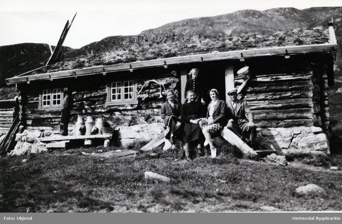 Stølsbua til Kyrkjebøen på Ershovd. På trappa i midten Margit Kyrkjebøen - elles byfolk. Ståande bak: Anne Marie Markegård