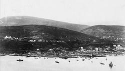 Oversiktsbilde av Harstad by, tatt fra Gangsåstoppen i 1897.