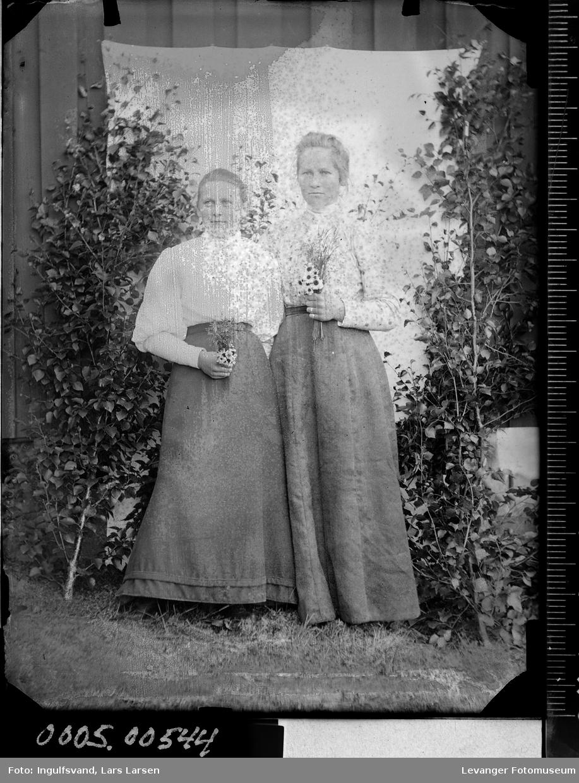 Portrett av to kvinner i helfigur.