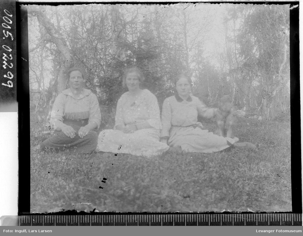 Gruppebilde av tre sittende kvinner.