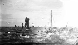 Avfotografert marinemaleri. Motivet er sildefiske med garn p