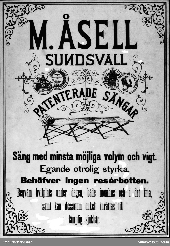 Reproduktion av annons för M. Åsell, Sundsvall, patenterade sängar.