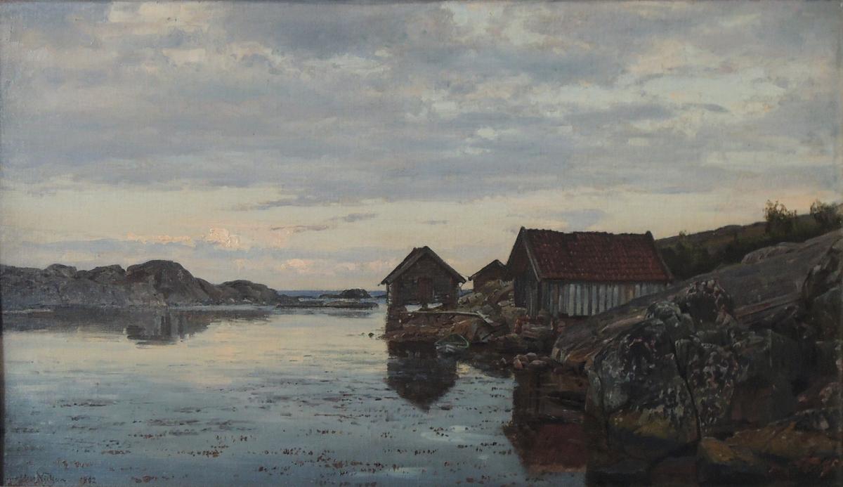 Skjærgård med båthus.