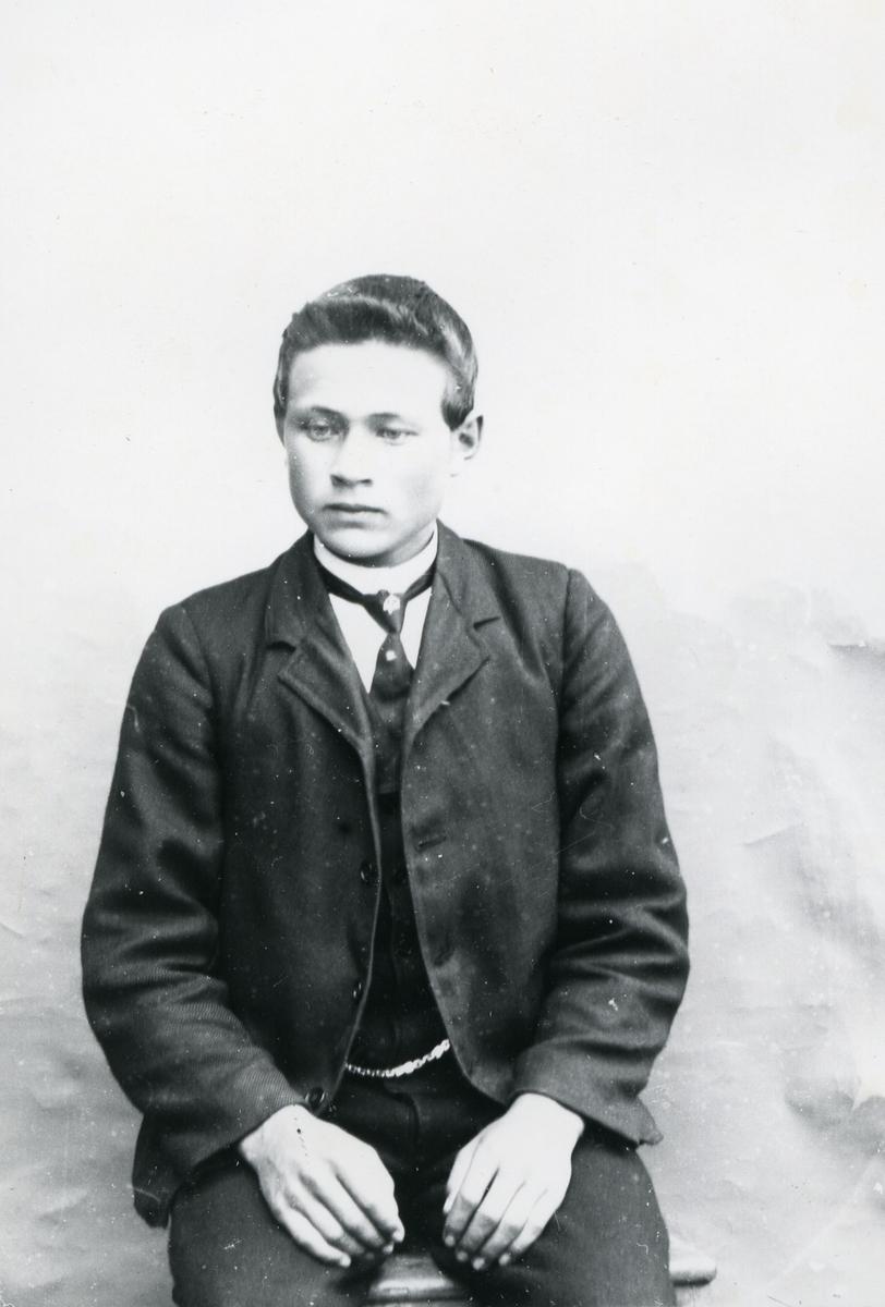Ung gutt i halvfigur, sittende foran lerret