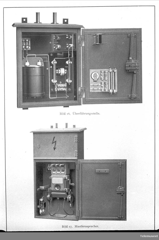 Telefon for høyspenningsanlegg, Siemens. Fig 16: Overføringskasse. Fig 17: Telefonapparat for mast. Elektrisk Bureau.