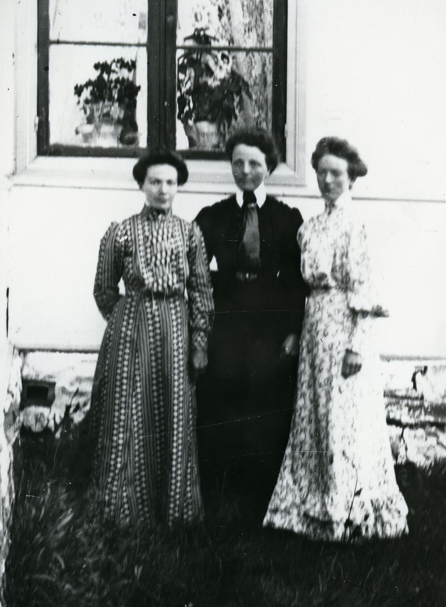 Tre kvinner i helfigur, fotografert i hushjørne foran vindu med planter innenfor