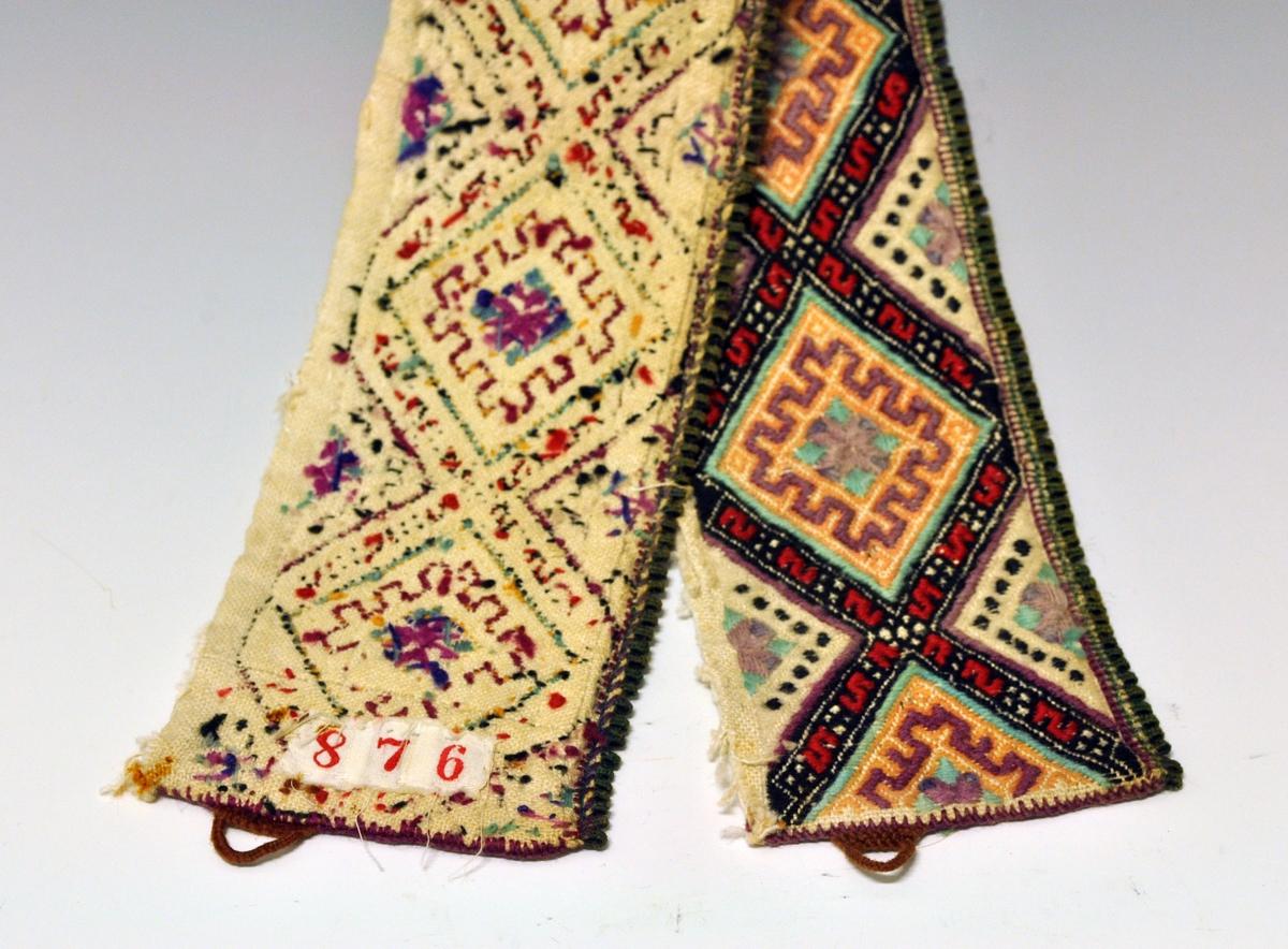 Fra protokollen: Kulørt smöigsaum. Delvis falmet.  Halskvarde til kvinneskjorte fra Aust-Telemark (Øst-Telemark). På baksiden vises de opprinnelige fargene.
