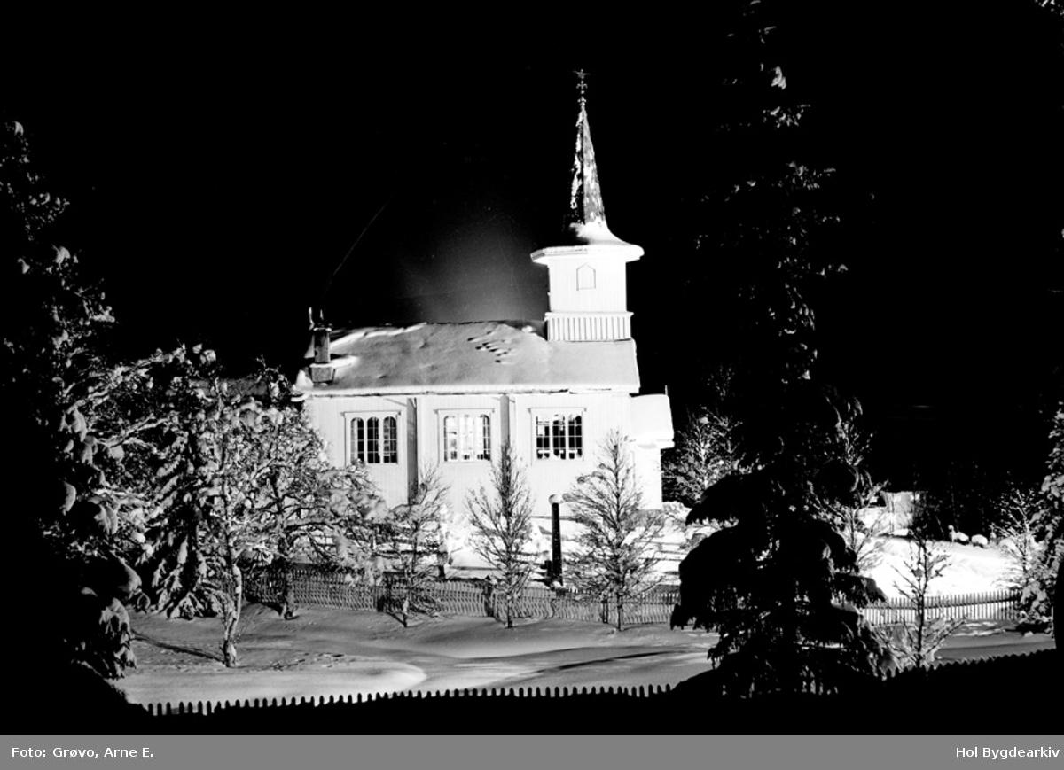 Kyrkje, Ustedalen kapell, Geilo kyrkje, vinter, kyrkjegard,natt
