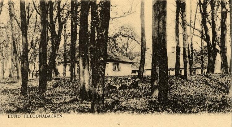 """Enligt text på framsidan """"Lund, Helgonabacken""""."""