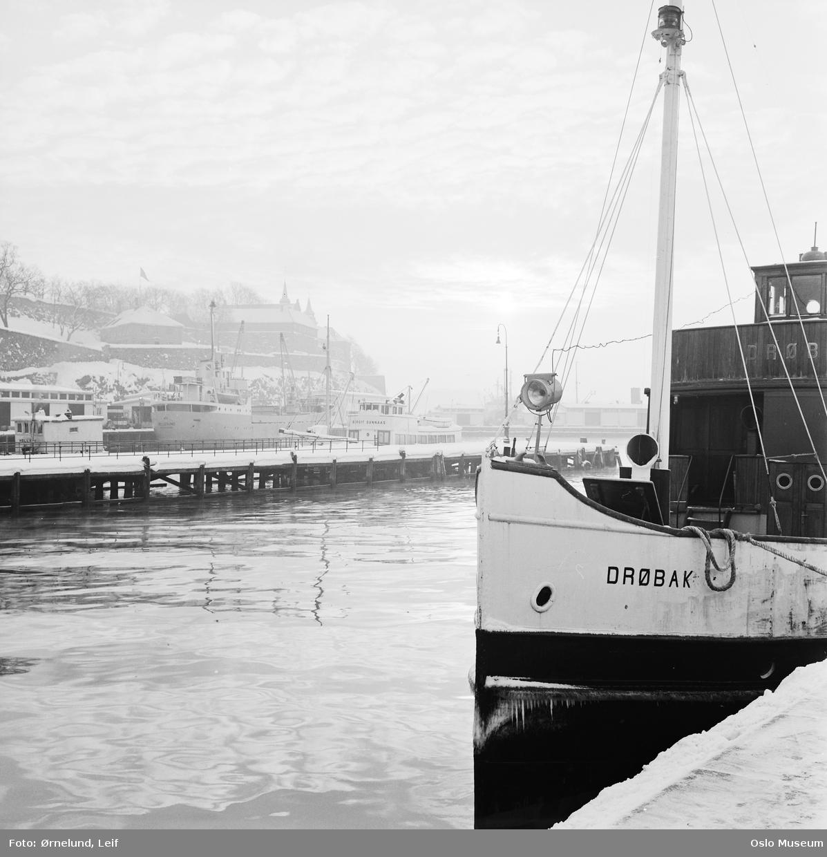 havn, båt Drøbak, is, snø, Akershus festning