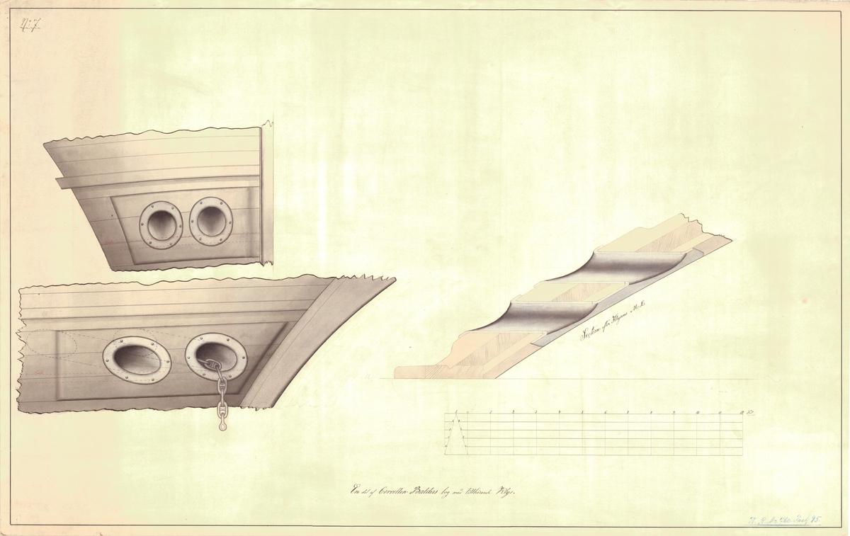 Odaterad, osignerad ritning till en del av Balders bod med tillhörande klys