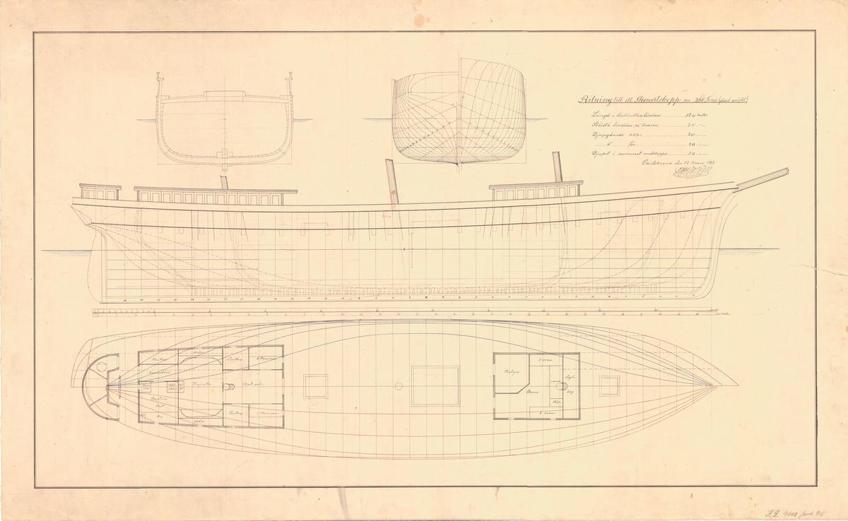 Ritning till skonertskepp om 260 tons dödvikt. Plan, längd och sektionsritning