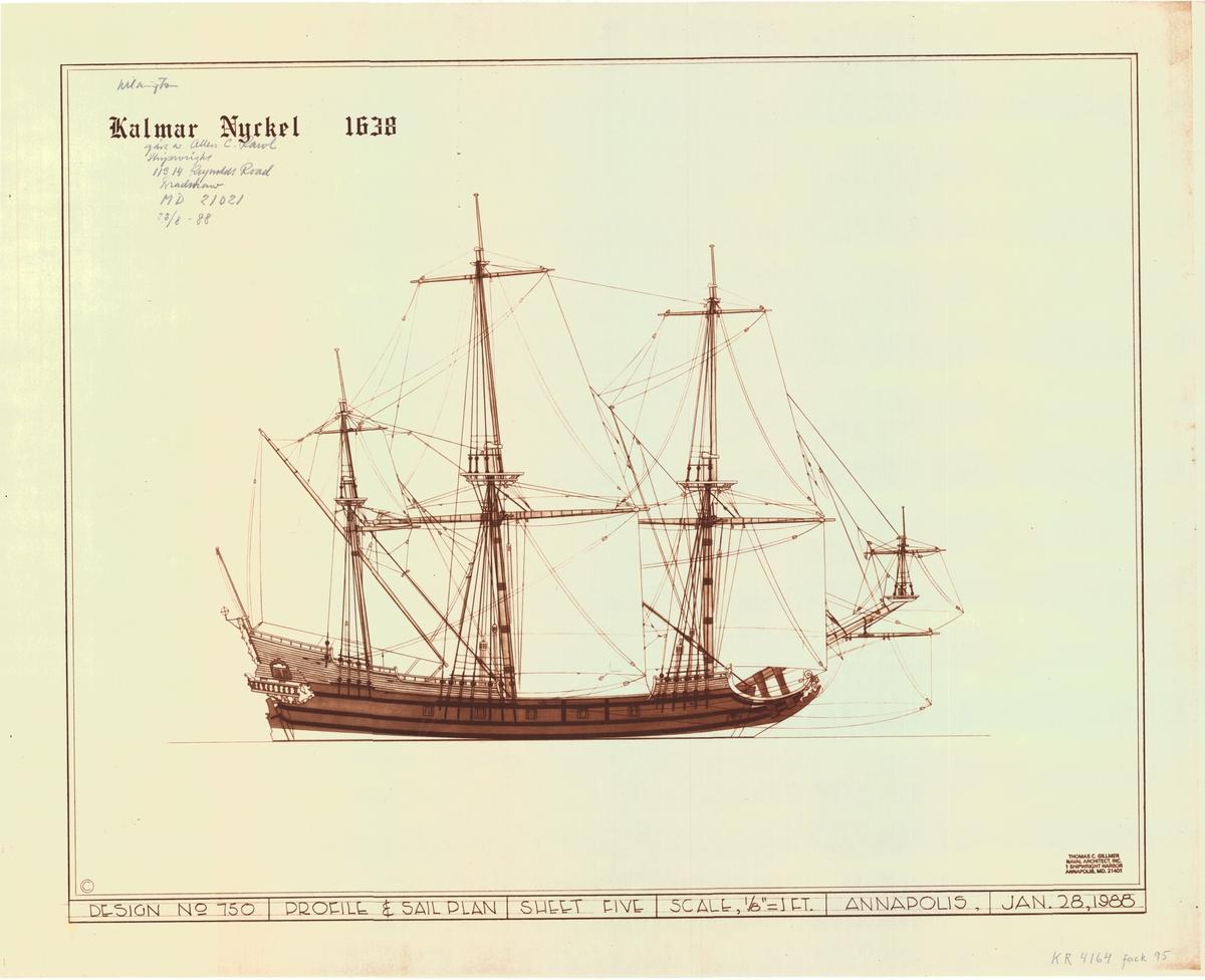 Fartyget ses från sidan med segel satta