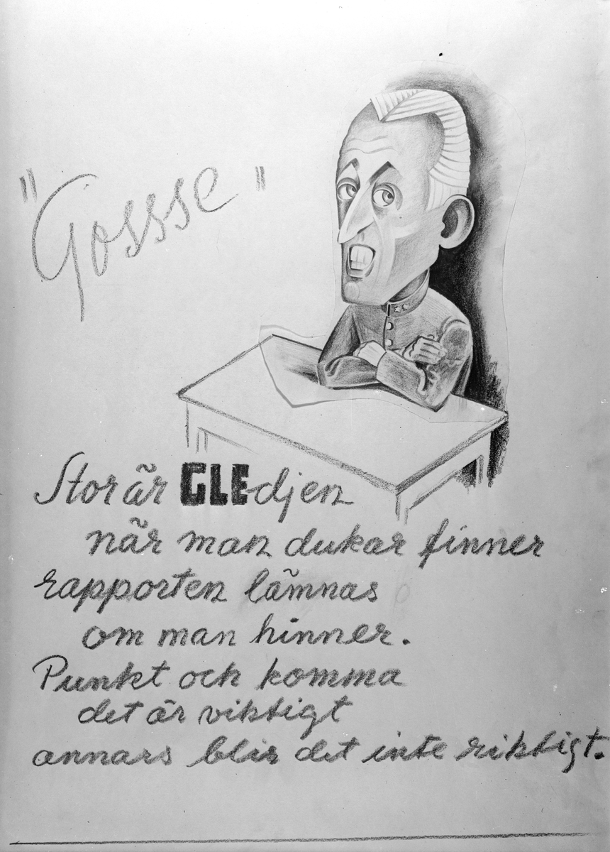 Karikatyrbild av militär ur flygvapnet, 1930-tal.  Märkt 'GLE'.   Avfotograferad teckning.