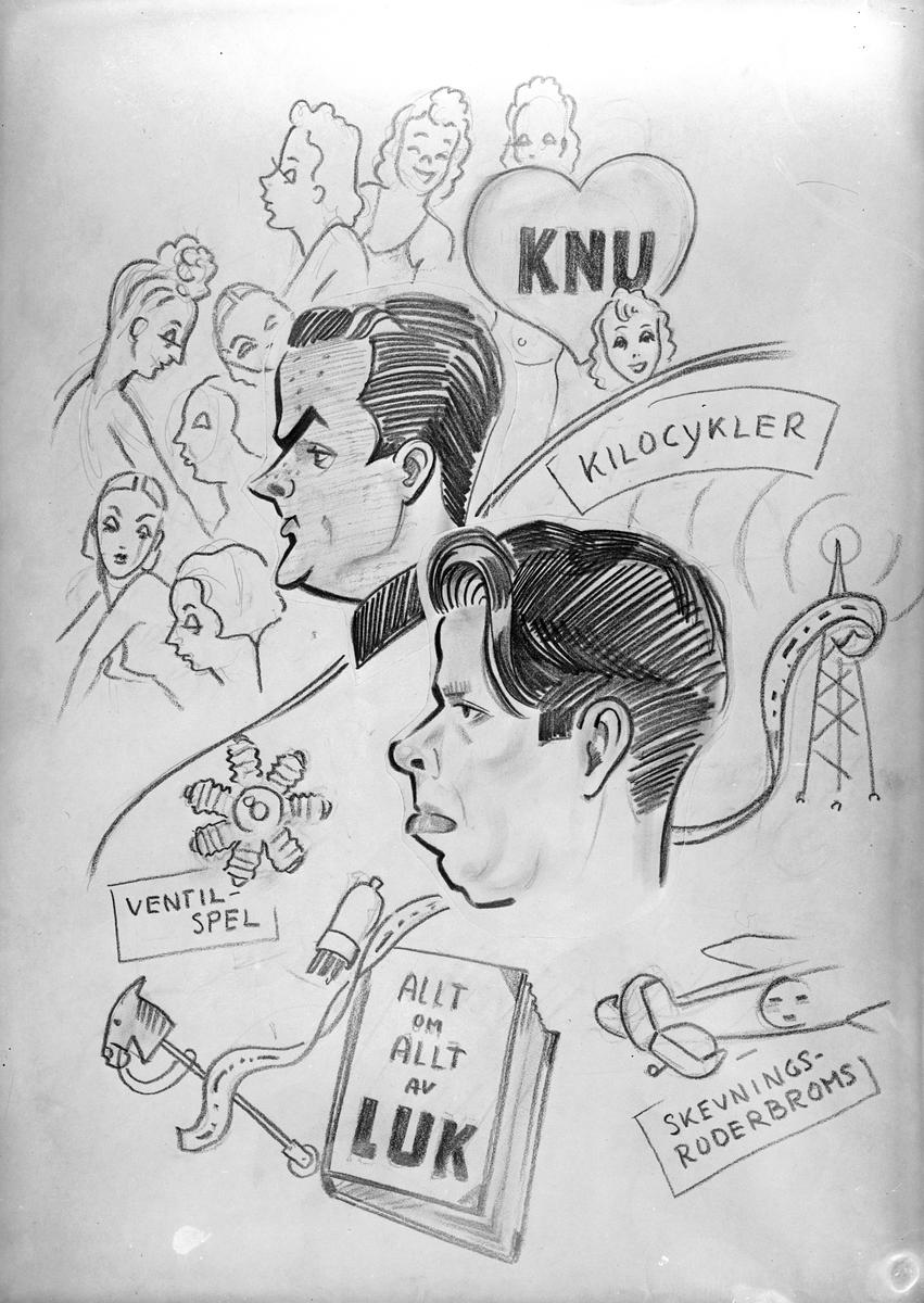 Karikatyrbild av militärer ur flygvapnet, 1930-tal.  Märkt 'KNU', 'LUK'.   Avfotograferad teckning.
