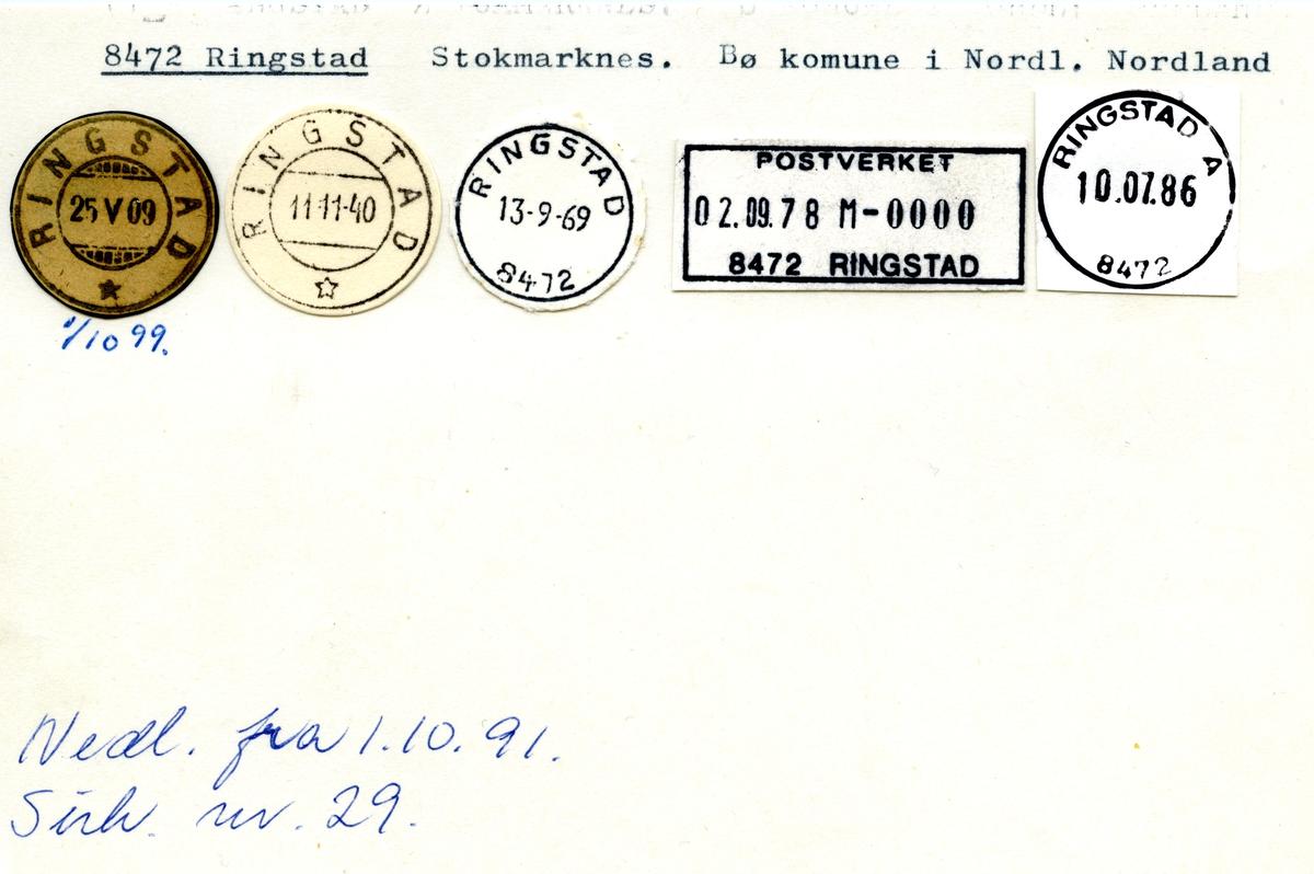 Stempelkatalog 8472 Ringstad, Stokmarknes, Bø i Nordland, Nordland