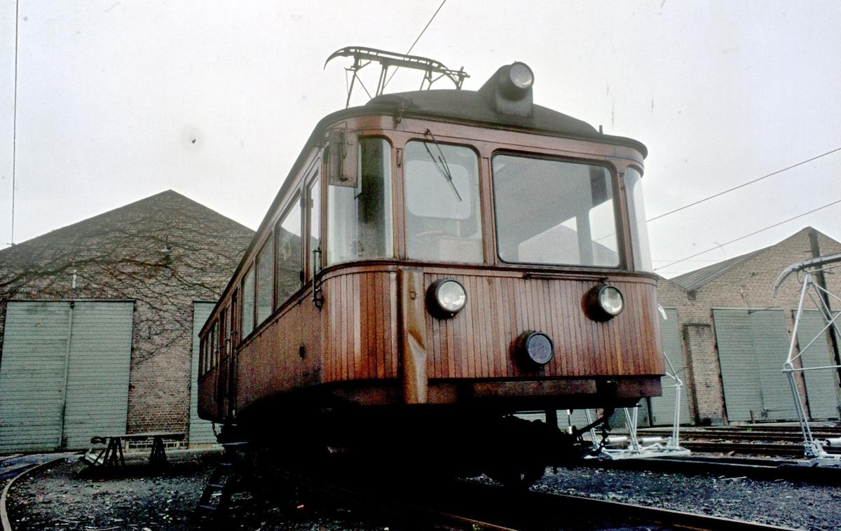 A/S Holmenkolbanen. Vogn 202 ved verkstedet på Majorstuen. Vogn type 1934 (Skabo, NEBB)