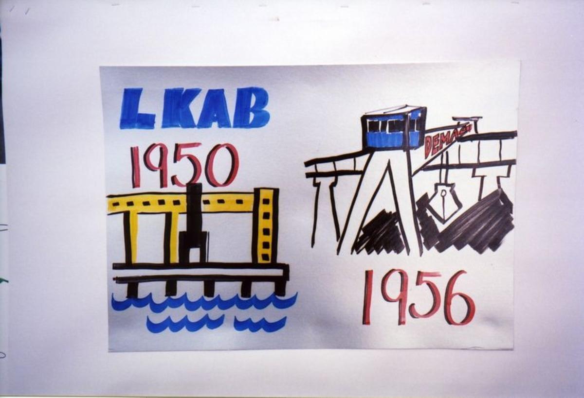 LKAB plakat.  Malmkai 1 og 2. Demag høybanen. Brukt ved borgertoget under Narviks 100 års jubileum 17. mai 2002.