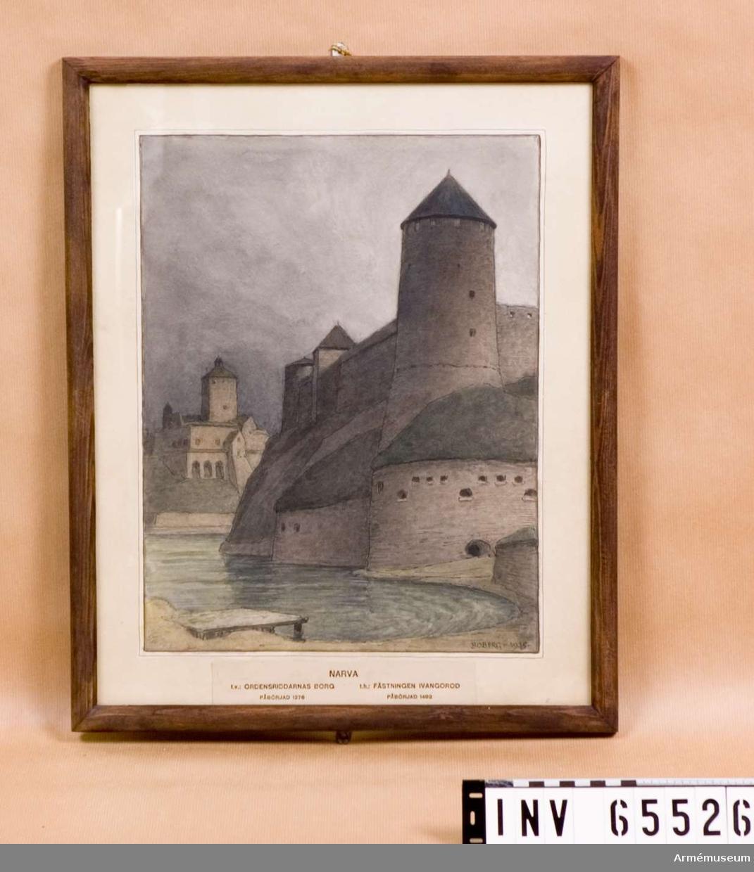 Grupp M I. Akvarell av arkitekten Ferdinand Boberg föreställande Narva: Ivangorod.