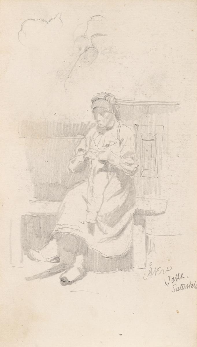 Kvinne med håndarbeid, Åkre i Valle [Tegning]