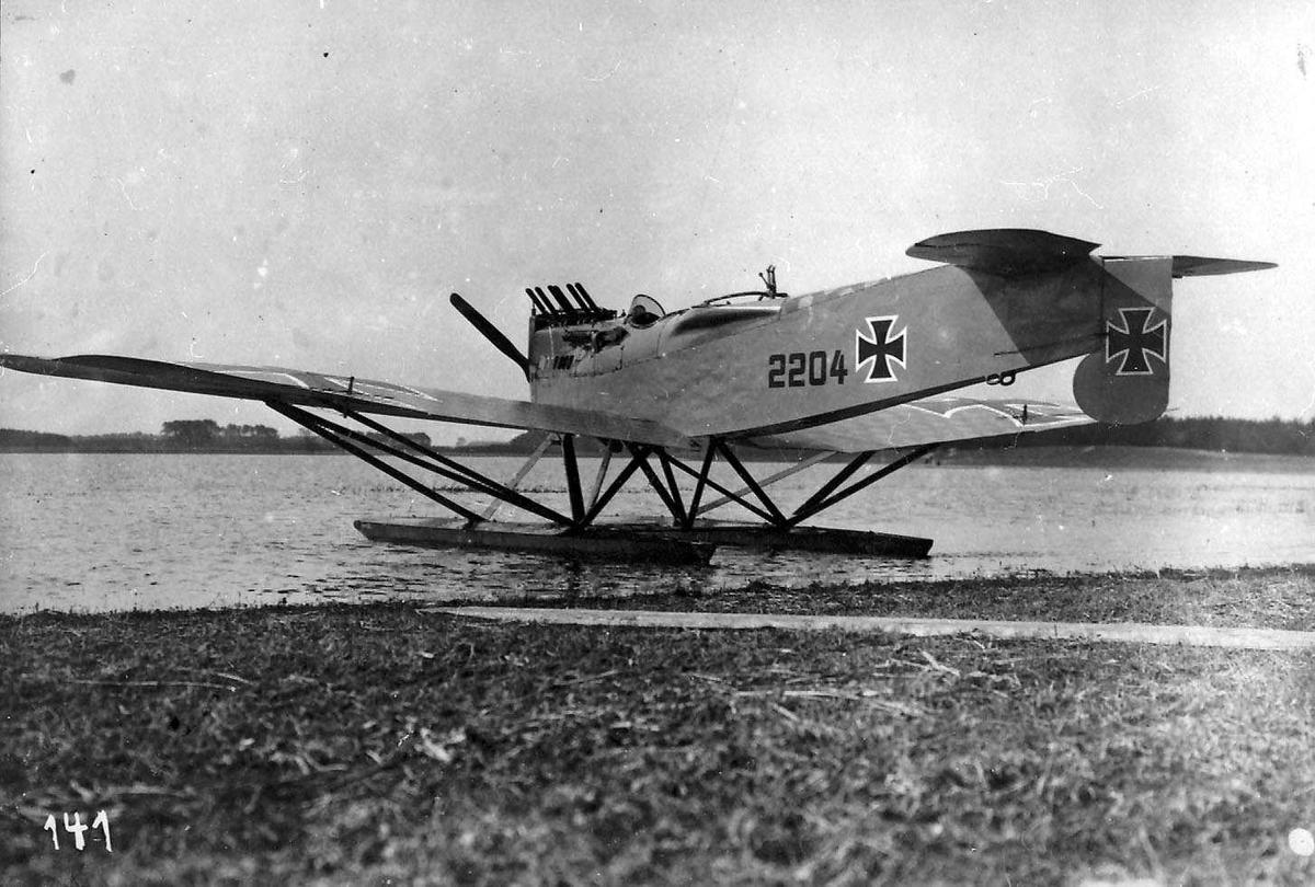Ett fly på  havet, Hansa Brandenburg W29, ved strandkanten.
