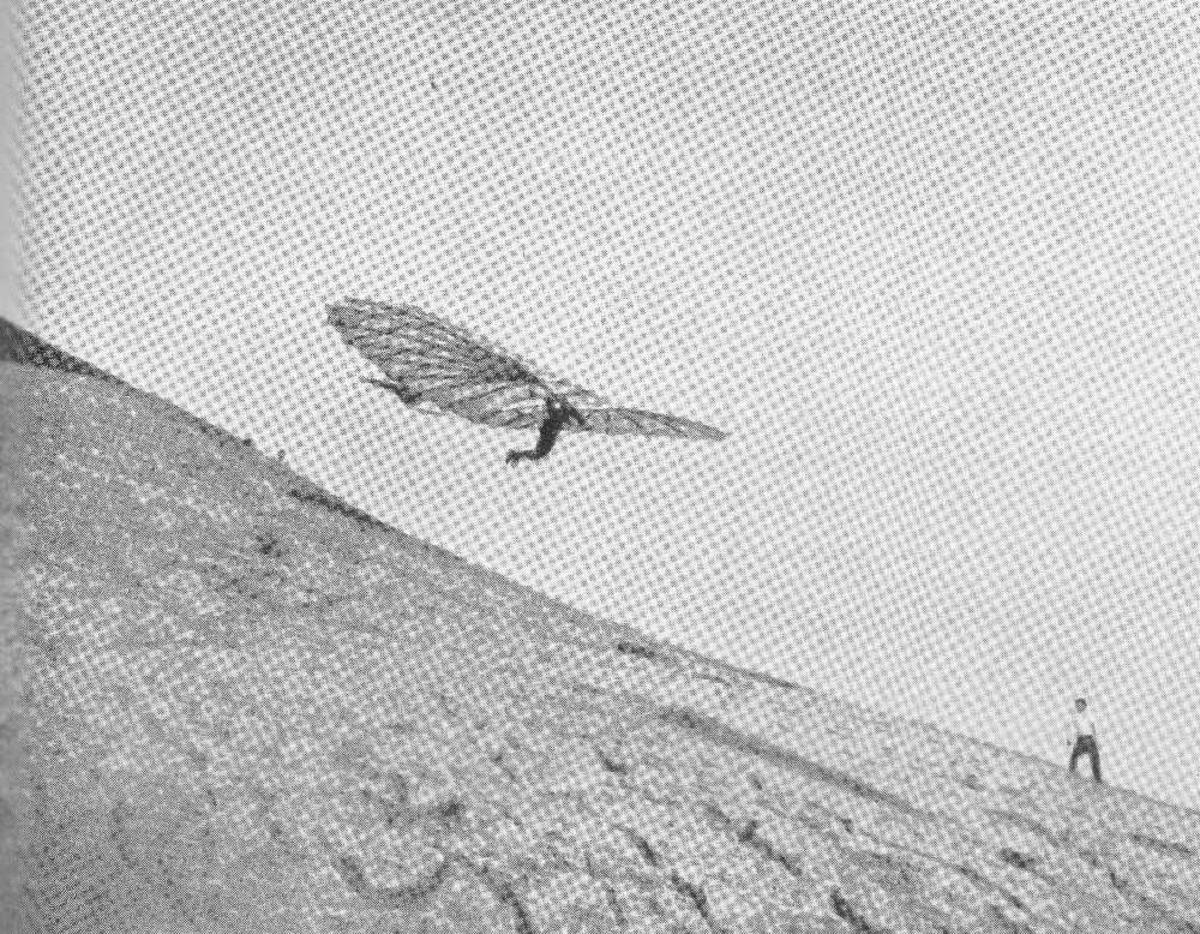 Skisse, tegning av seilfly (flyvinge). Eldre type.