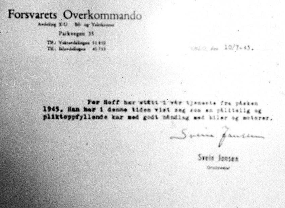 Skriv fra Forsvarets overkommando om at Per Hoff har stått  i tjeneste.