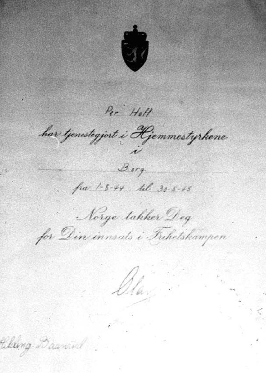 Attest som viser at Per Hoff har tjenestegjort i Hjemmestyrkene i Borg.