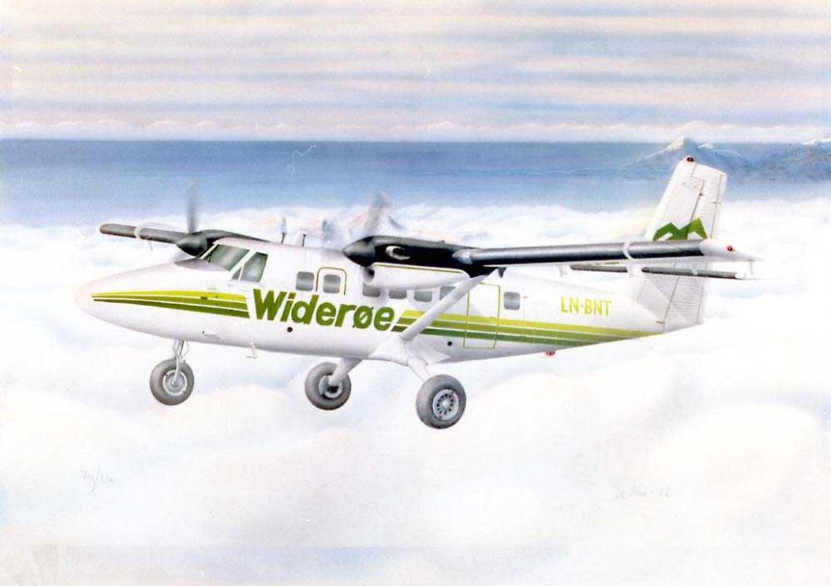 Tegning av et fly i luften. DHC-6 Twin Otter fra Widerøe.