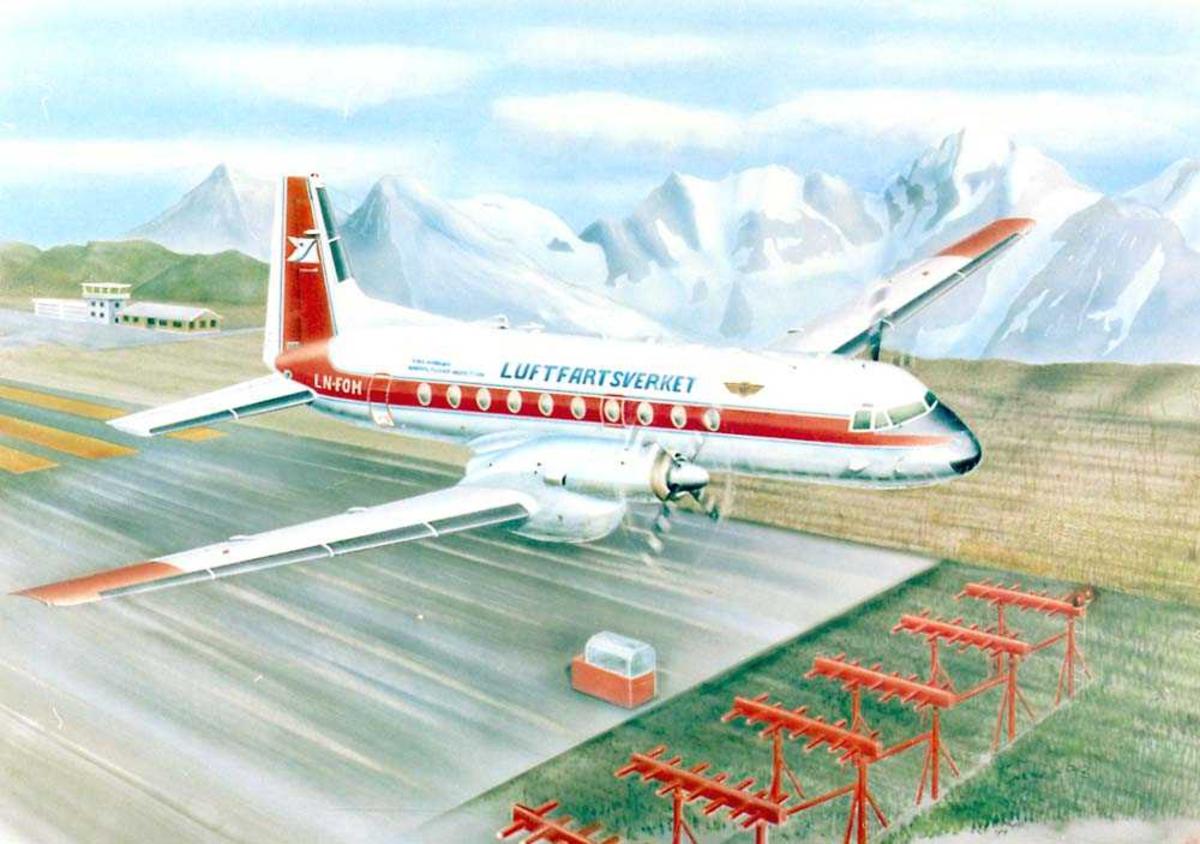 Tegning av et fly like etter take-off. Hawker Siddeley fra Luftfartsverket. Rullebanen og landingsinstrumenter under flyet. Flyplassbygninger og fjell i bakgrunnen.