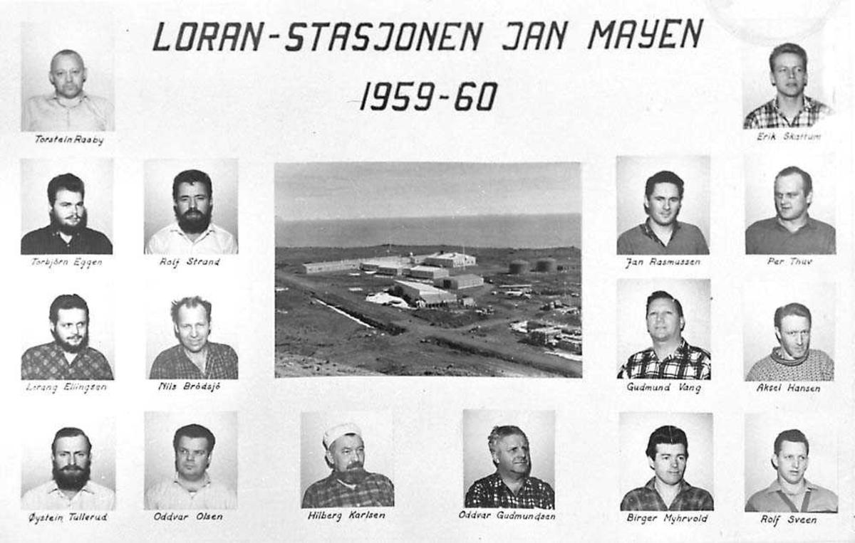 Bilde over de som var stasjonert på Loran-stasjonen på Jan Mayen 1959-60. Stasjonen i midten.