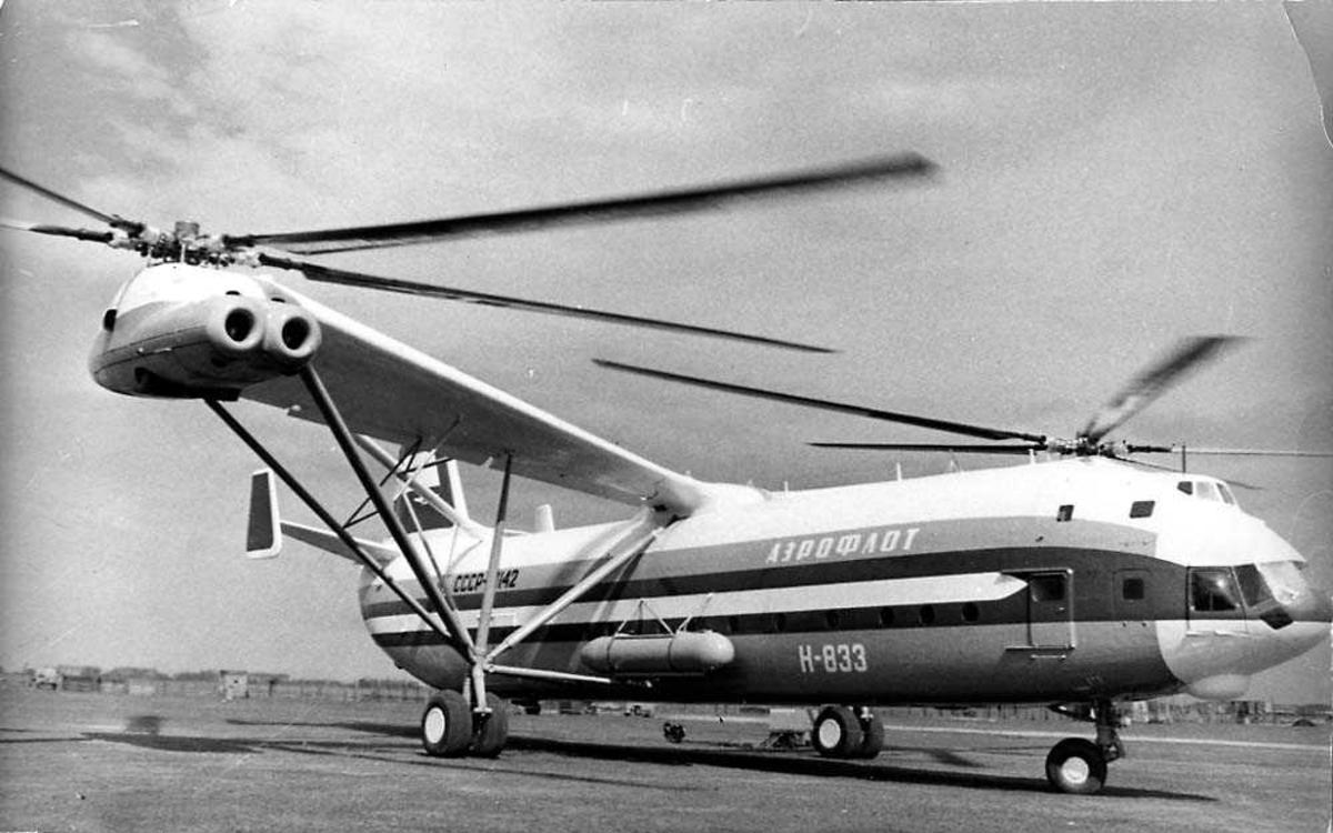 """Ett helikopter på bakken. MIL V-12 / Mi-12 """"Homer""""."""