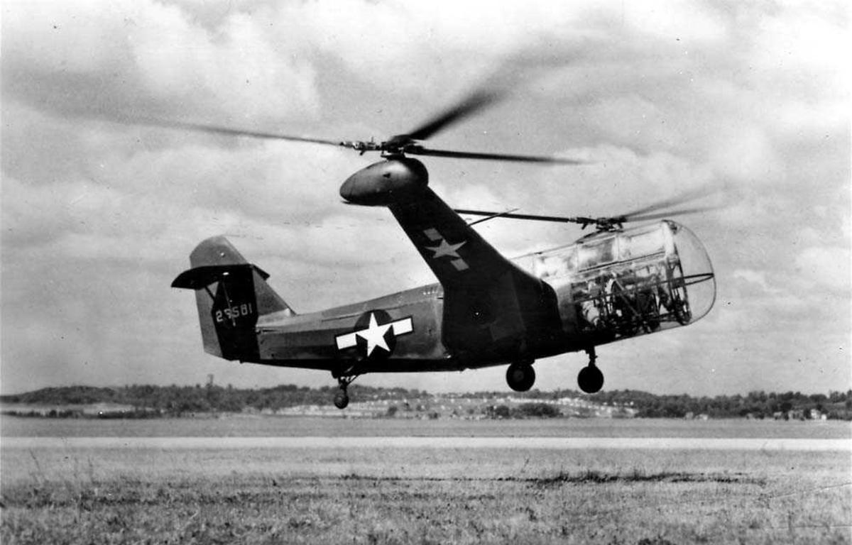 Ett helikopter like over bakken, Platt-Le Page XR-1A.