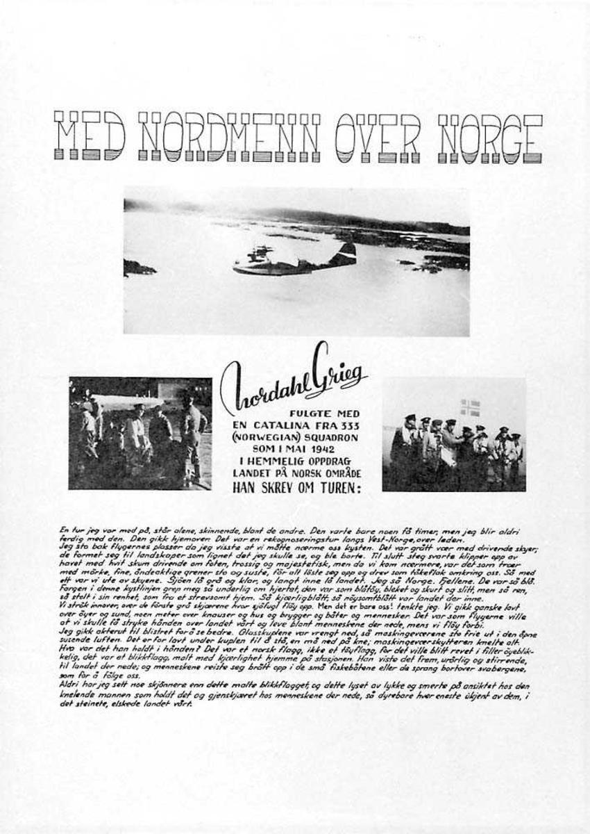 """Plakat med overskriften """"Med Nordmenn over Norge"""". Et blide med et fly i luften, Catalina. To bilder med flere personer på. Tekst som er skrevet av Nordahl Grieg."""