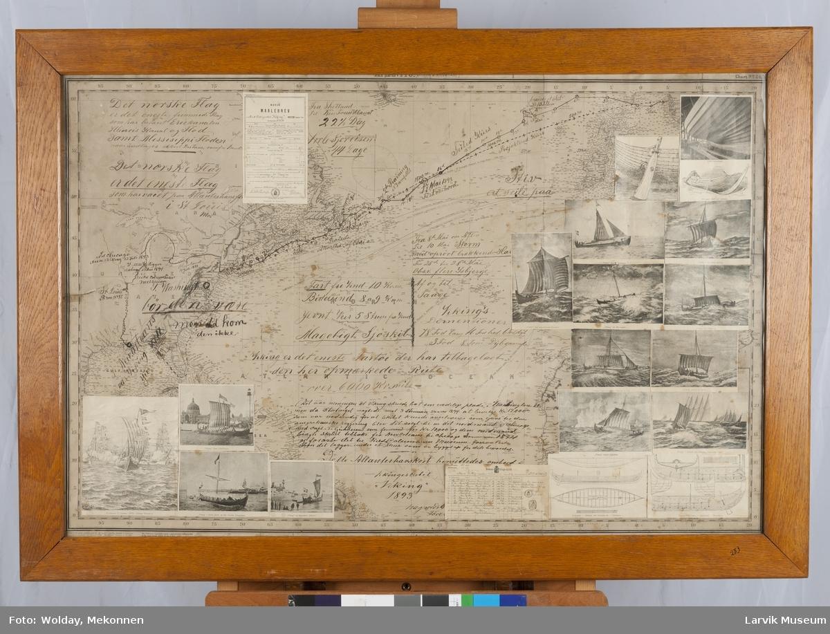 "Magnus Andersens rute over Altlanterhavet med vikingskipet ""Viking"" 1893. Kart, tegninger og fotografier."