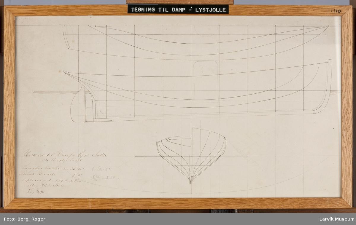 Tegning til Damp- Lystjolle.