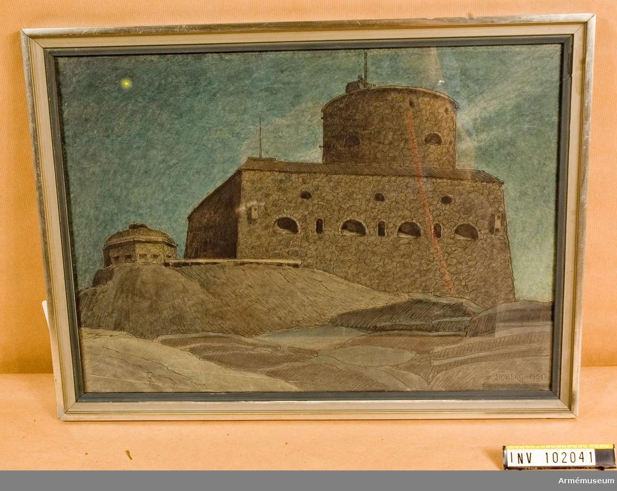 Akvarell över Marstrands fästning.