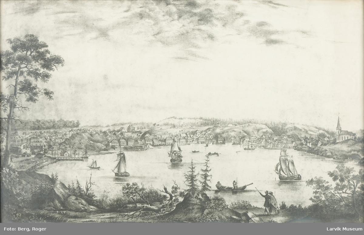 Avfotografering av Wergmanns prospekt av Larvik ca. 1835. Uten farger.
