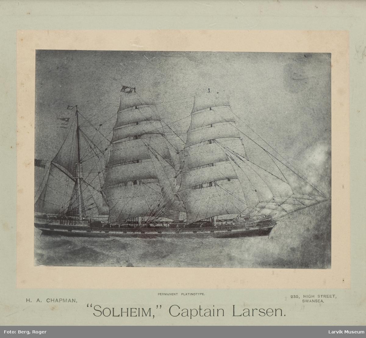 "Bark ""Solheim"", kapt. Larsen."