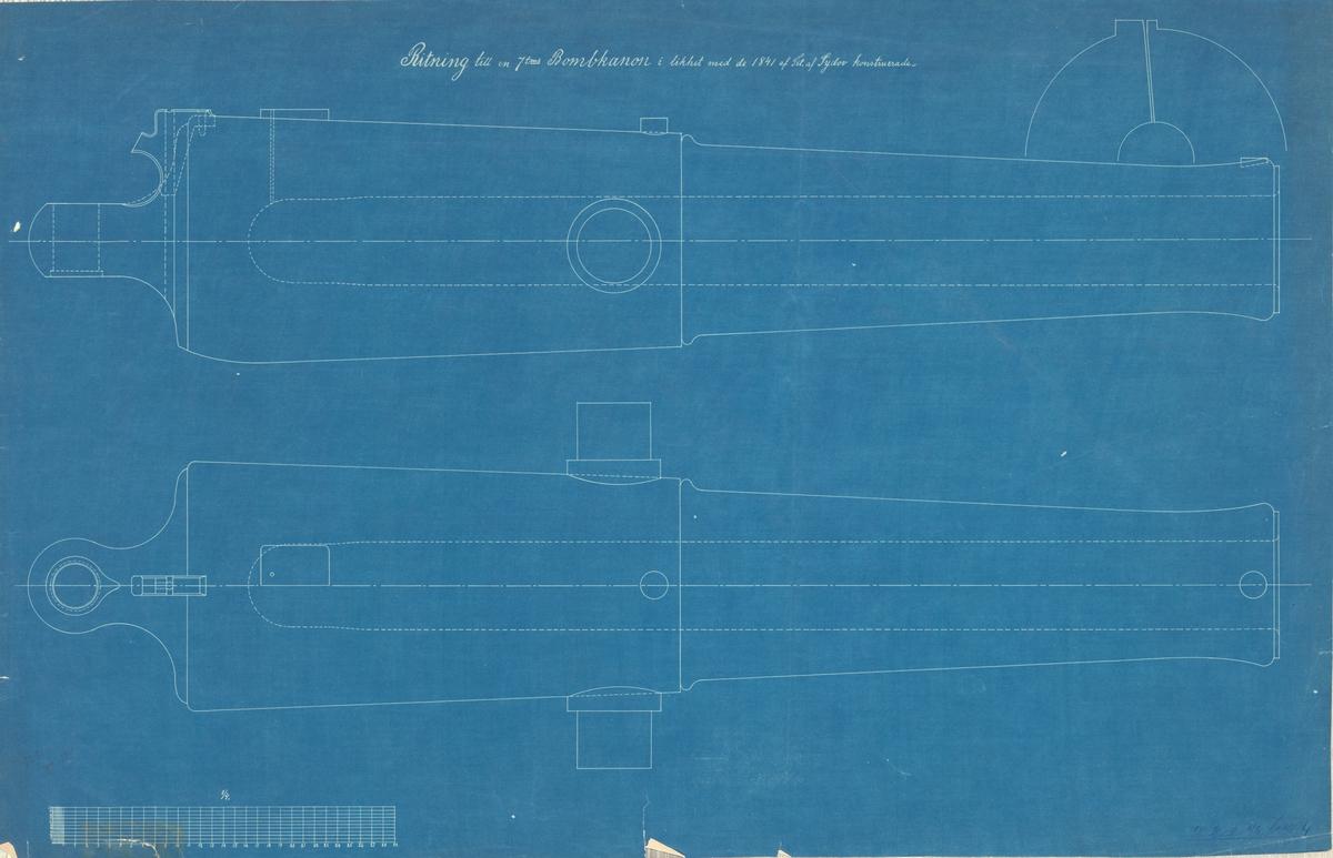 Ritning till en 7 tums bombkanon i likhet med de 1841 av Sydov konstruerade
