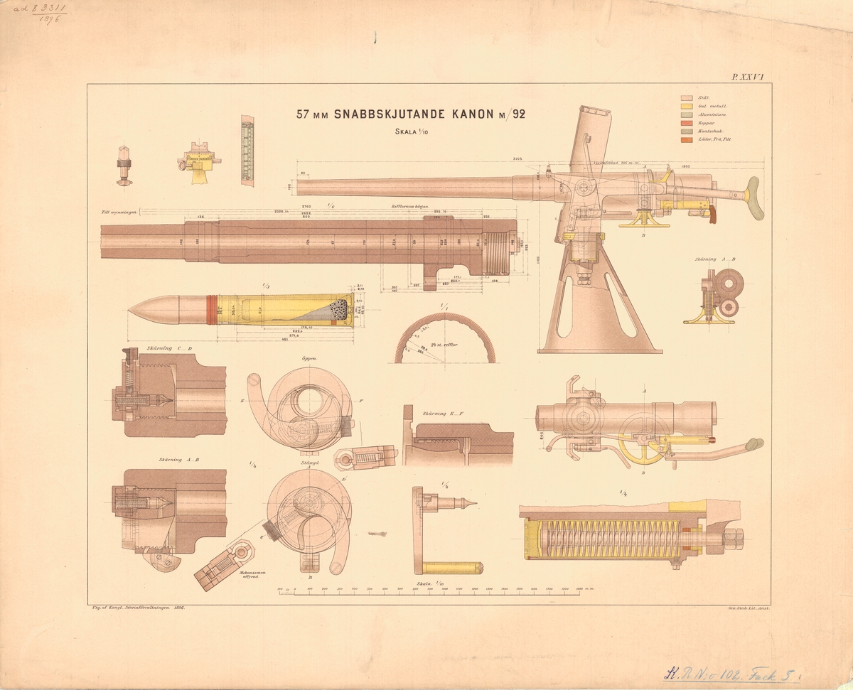 57 mm snabbskjutande kanon m/92. Utgiven av Marinförvaltningen 1896