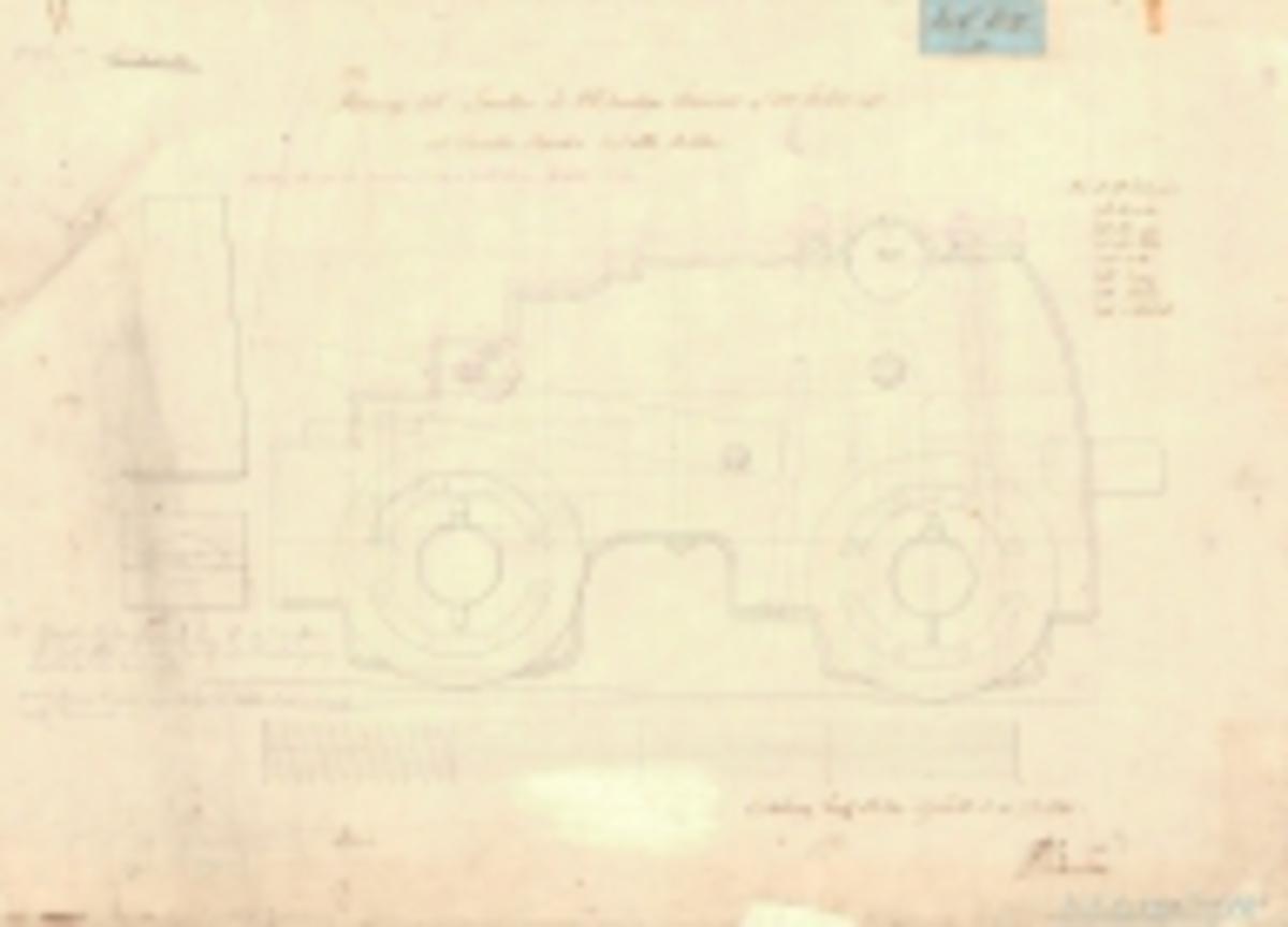 2 st ritningar till lavetter för 24 pundiga kanoner av 100 kulors vikt