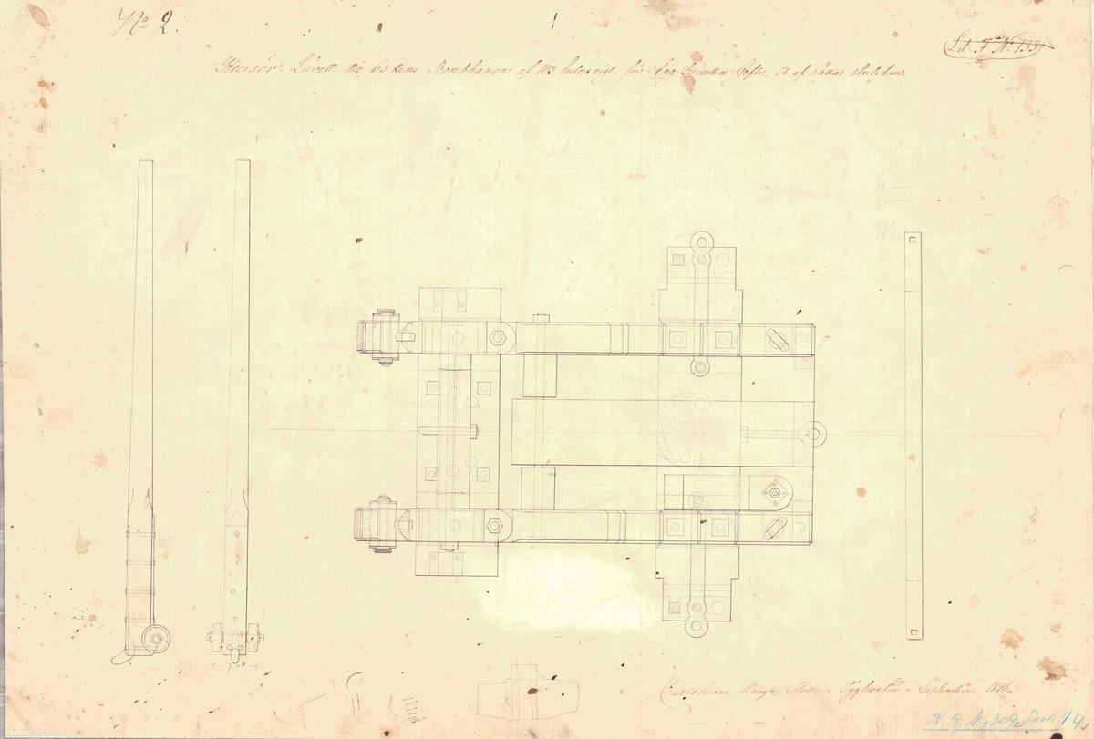 6 st ritningar visande kursörlavetter till 6 ½ tums bombkanon av 103 kulors vikt åt ångkorvetten Gefle