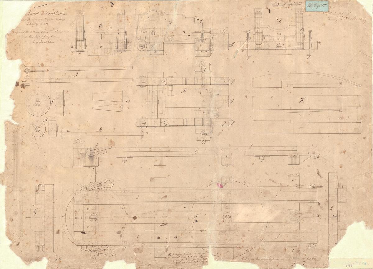 2 ritningar samt text till kursörlavett till bombkanon av den modell som å engelska ångfartyg var bruklig år 1842