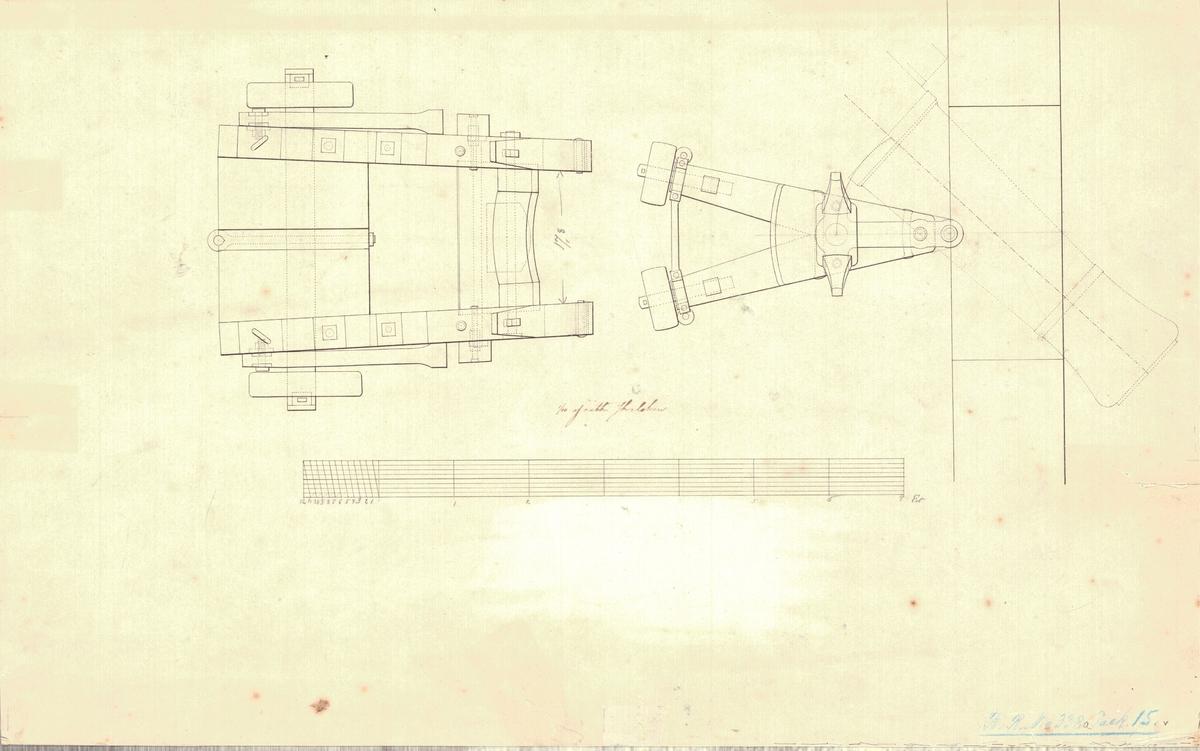 Ritning till en släpande Marshalls lavett för fregatten Göteborgs batteri