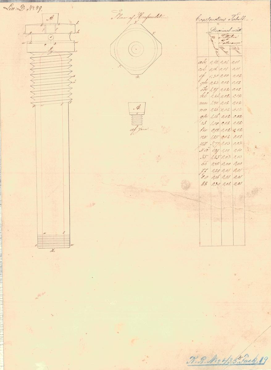 Knaster och spegel till 60 pundig bomb samt ritning till 30 pundig granat fastsatt vid trädspegel