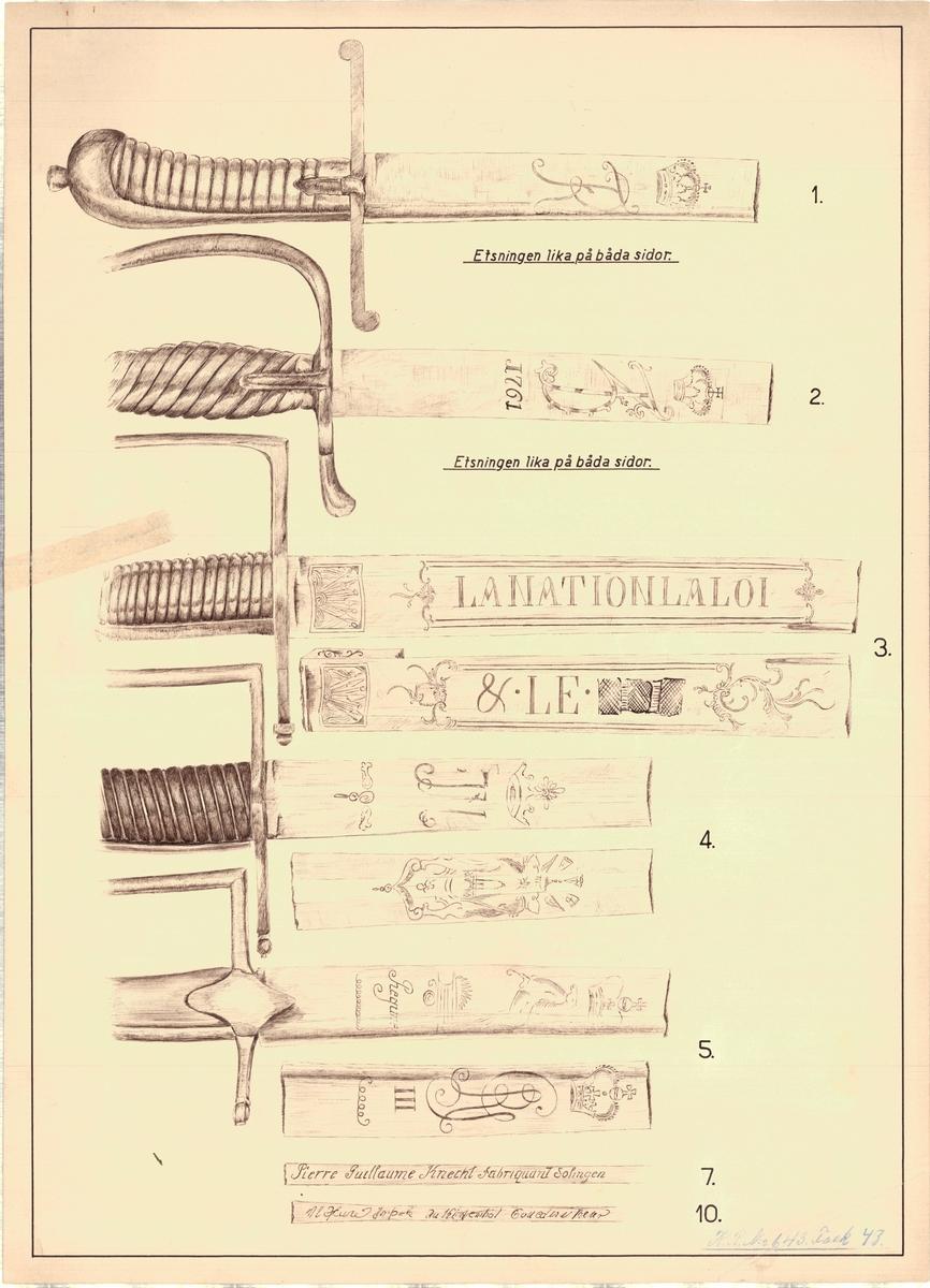 4 ritningar över etsningar på sablar