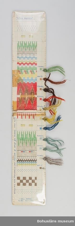 """Avlång, dubbelvikt handtillverkad mönsterritning för mönstret Röda randen av Anna-Lisa Mannheimer Lunn från Bohus Stickning. Mönstret är uppritat i bläck och färglagd med pastell- eller vaxkrita på blårutat millimeterpapper, uppklistrat på linneväv och därefter pappkartong. Mönstret skyddas av ett plastskikt fästat med häftklamrar. Utmed högersidan hål gjorda med hålslag med mönstrets olika garner fästade med uppgift om kvalitet/sort och färgnummer. Stämplat BOHUS STICKNING på baksidan. Missfärgatav tejp.  Jämför UM016438:1, UM031354, UM031422  Mönstret ingår i en gåva efter Karin Forsberg på Bohus Malmön. Hon var ombud för Bohus stickning på Bohus Malmön under många år och är en av dem som undertecknat det tackbrev som publiceras på s. 84 i nytrycket av Ulla Häglunds bok Bohus stickning. I gåvan ingår  11 mönsterritningar med garnprover, kartongblad med mönsterbeskrivningar, följesedelsblock, mössa """"Gröna ängen"""" samt arkivmaterial, bl a fotografier."""