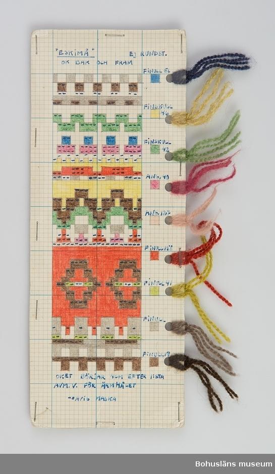 """Avlång,  handtillverkad mönsterritning för mönstret Eskimå av Anna-Lisa Mannheimer Lunn från Bohus Stickning.  Mönstret är uppritat i bläck och färglagd med pastell- eller vaxkrita på blårutat millimeterpapper, uppklistrat på linneväv och därefter pappkartong. Mönstret skyddas av ett plastskikt fästat med häftklamrar. Utmed högersidan hål gjorda med hålslag med mönstrets olika garner fästade med uppgift om kvalitet/sort och färgnummer.   Mönstret ingår i en gåva efter Karin Forsberg på Bohus Malmön. Hon var ombud för Bohus stickning på Bohus Malmön under många år och är en av dem som undertecknat det tackbrev som publiceras på s. 84 i nytrycket av Ulla Häglunds bok Bohus stickning. I gåvan ingår  11 mönsterritningar med garnprover, kartongblad med mönsterbeskrivningar, följesedelsblock, mössa """"Gröna ängen"""" samt arkivmaterial, bl a fotografier.   Litt: Häglund, U. med bidrag av Ingrid Mesterton. Bohus Stickning. Bohusläns museums förlag 1999. Keele, W. Poems of Color. Knitting in the Bohus Tradition. And the women who drove this Swedish cottage industry. Interweave press 1995."""