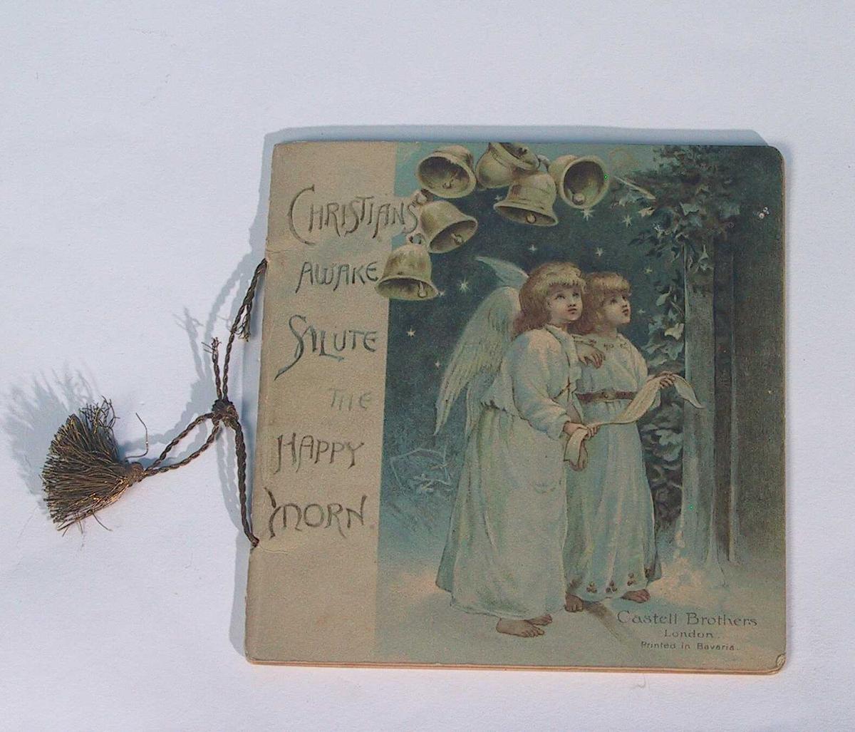 Syngende engler med kirkeklokker over.